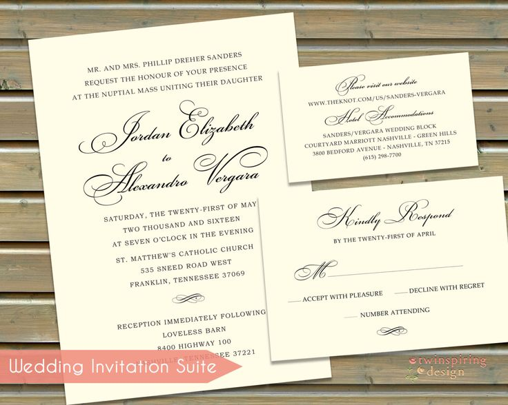 Classic Calligraphy Wedding Invitations, Insert Cards, And Reply Post Cards  On Deluxe Felt Card Stock