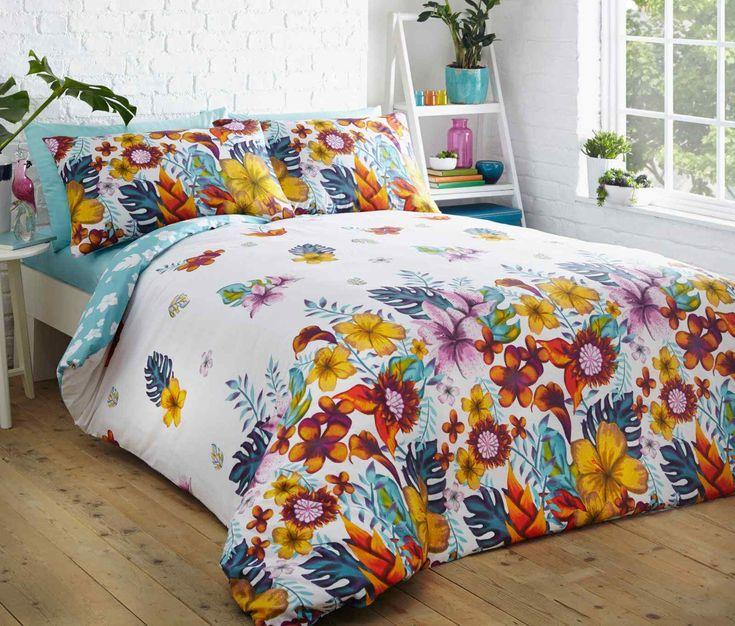 Tropical Floral Duvet Quilt Bedding Set   Multi – Linens Range
