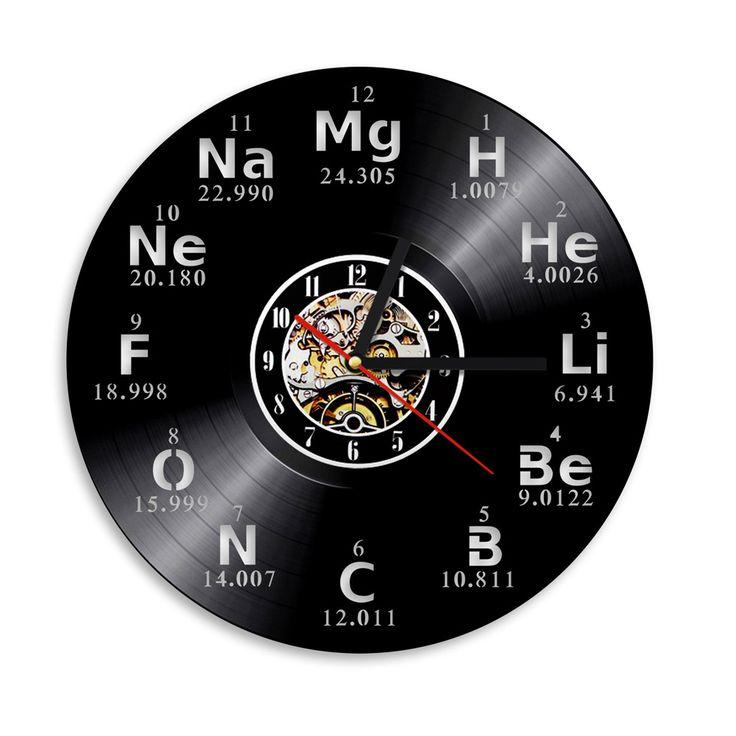 1 Każdy Element Chemiczny Okresowy Badania Collehe Chemii Szkoła Rocznika Klasie Winylu Zegar Ścienny Decor