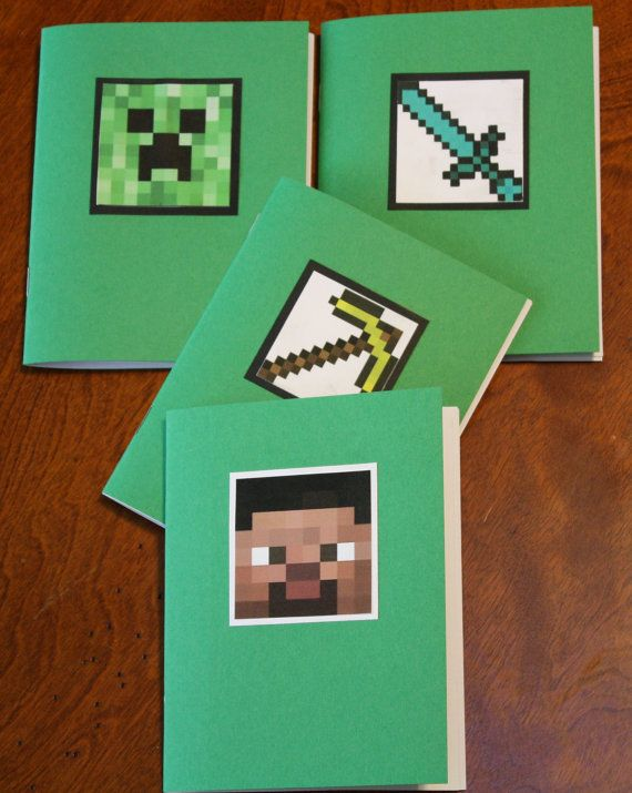 Make and print either notebooks or coloring books for minecraft party goody bag prizes