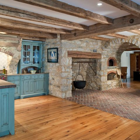 Cottage with stone, brick and beams.