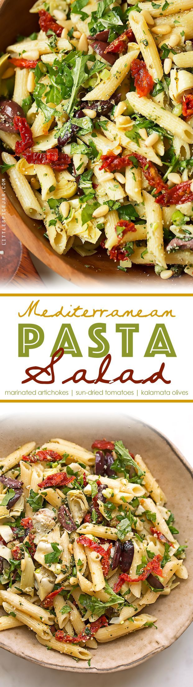 Mediterranean Pasta Salad - This Cafe Express inspired pasta salad is loaded with marinated artichoke hearts, sun-dried tomatoes, kalamata olives, and so much more! #pastasalad #italianpastasalad #mediterraneanpastasalad | Littlespicejar.com