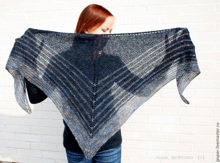 """Купить Шаль """"На краю ночи"""" - тёмно-синий, абстрактный, шаль, шейный платок, шарф"""