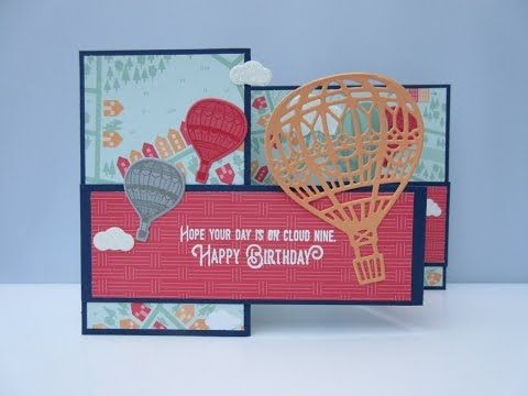 Stampin' Sacha - Stampin' Up! - Spring-Summer Catalogue 2017 - Sale-A-Bration - Lift Me Up - Up & Away Thinlits - Carried Away DSP - Night of Navy - Watermelon Wonder - Smoky Slate - Peekaboo Peach - Z-Fold Card - Birthday - #stampin_sacha - #stampinup