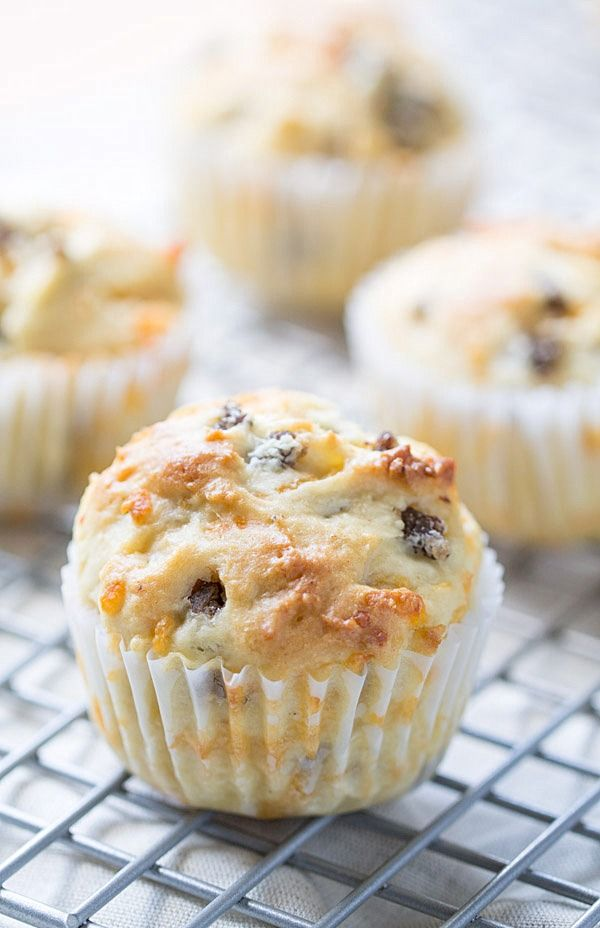 begin our day with these savory Sausage Cheddar and Olive Oil Muffins ...