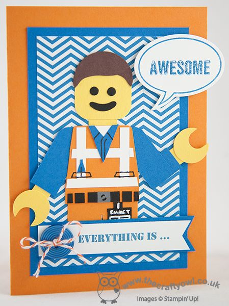 Everything is ... Awesome! Lego Movie Punch Art Lego Punch Art, #LegoMovie, Emmet the Builder, Just Sayin', Word Bubbles, Circle Punch, owl punch, Joanne James UK Independent Stampin' Up! demonstrator, blog.thecraftyowl.co.uk