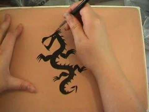 tattoo-style dragon, painted on a Pro-Face practice pad. Kind of ...