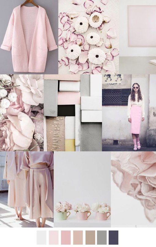The combination of colors in clothes - Moodboard! Beautiful pastel pink color Inspiration