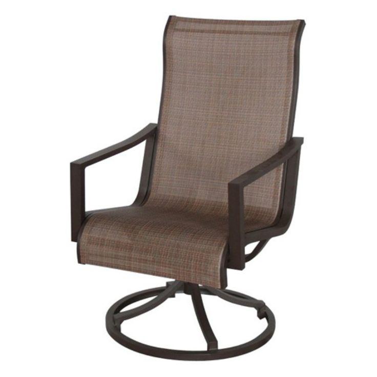 Royal Garden Allegian Aluminum Outdoor Sling Swivel Dining Chair - Set of 2 - Tweed Charm - A015200-02-CSPM