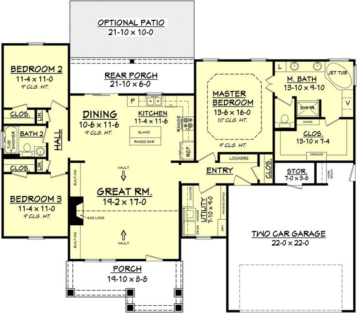 Craftsman Style House Plan - 3 Beds 2 Baths 1675 Sq/Ft Plan #430-78 Floor Plan - Main Floor Plan - Houseplans.com