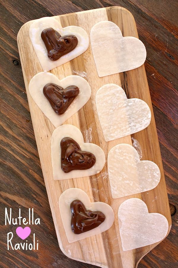 Nutella Heart Ravioli with wonton wrappers.  I might have to do a baked version with phillo dough.