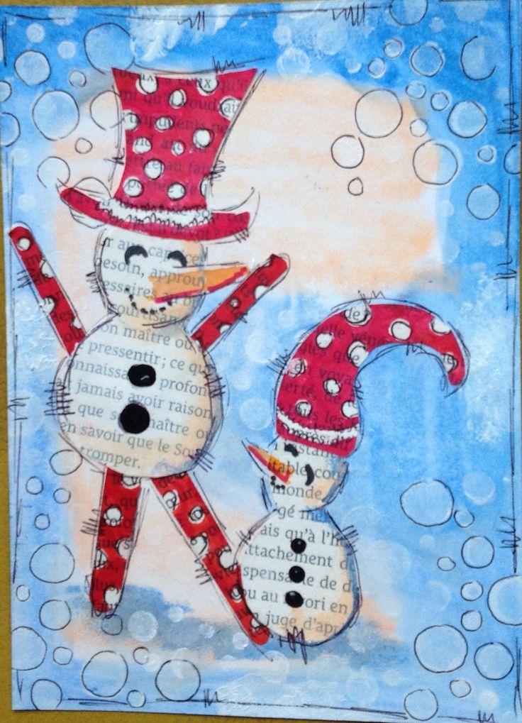Twee sneeuwpoppen, acrylverf en gelato's