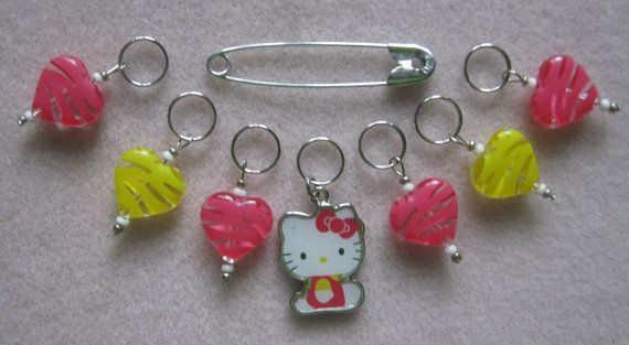 Set of 7 stitch markers for knitting only HELLO by SoMuchHere, $5.75