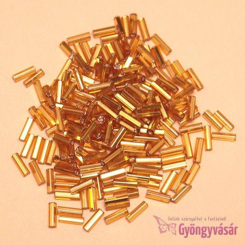 Ezüst közepű aranyszínű, 7 mm-es cseh szalmagyöngy (10 g)