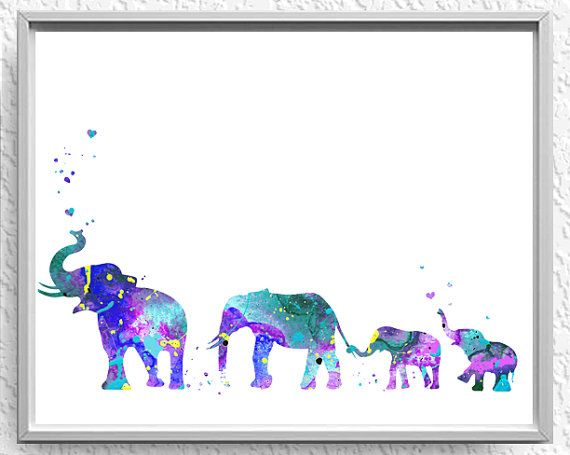 Elephant Family Mom Dad twin babies nursery by WatercolorPrintsUSA