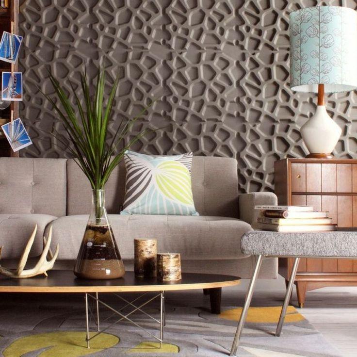 Moderne Wandgestaltung - die 3D-Wandpaneele in Farbe streichen - futuristische buro einrichtung mit metall 3d wandpaneelen