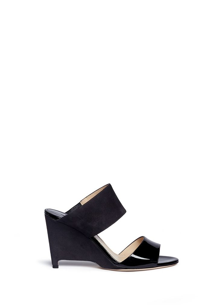 PAUL ANDREW 'Paavo' suede and patent leather mules. #paulandrew #shoes #sandals