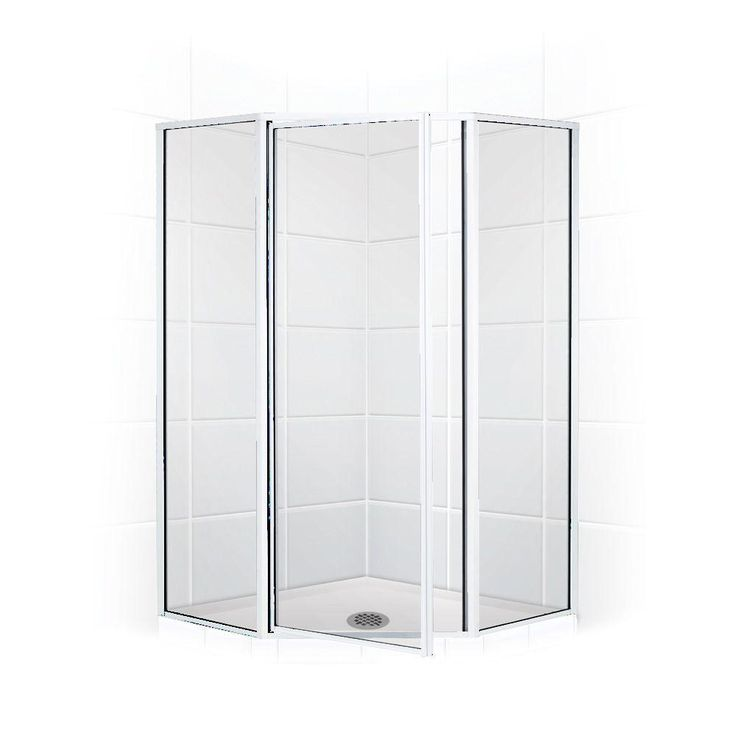 Coastal Shower Doors Legend Series 59 in. x 70 in. Framed Neo-Angle Shower Door in Chrome and Clear Glass
