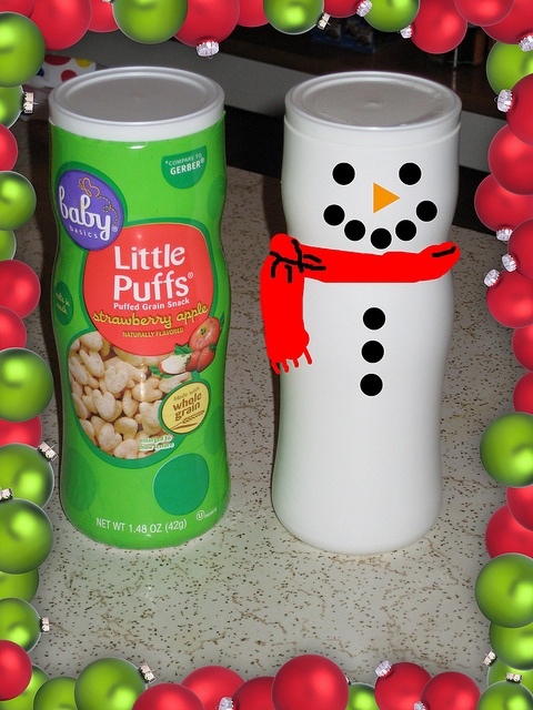 Whipped Cream Label - Turn a baby snack container into a snowman.  Use for gifts of nuts or candies.