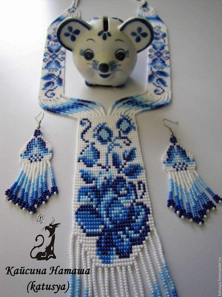 #blue #white #neckpiece #handmade #beads