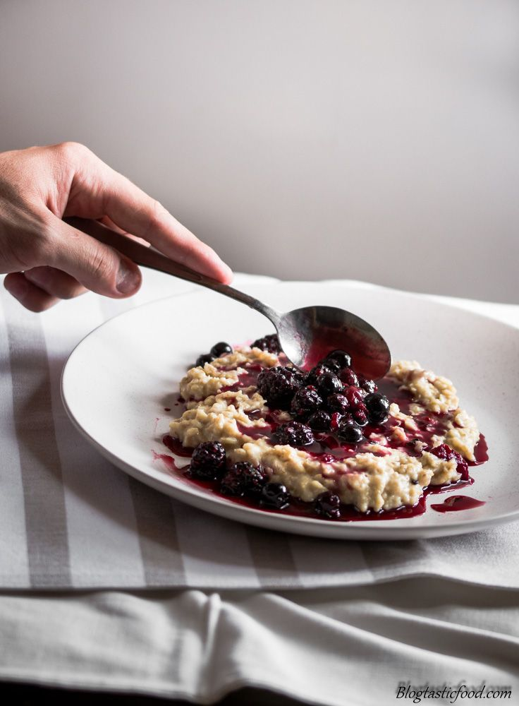 If you are tired of the same old breakfast every morning, give this recipe a go. The stewed berries take the porridge from dull to amazing.