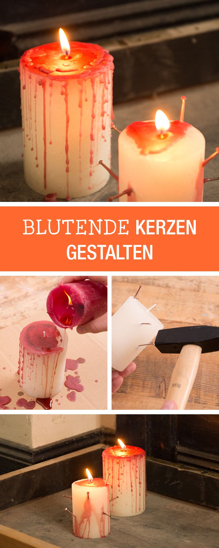 Einfache Halloween Dekoration: Blutige Kerzen gestalten / easy halloween decoration: bloody candles, spooky home decor via DaWanda.com