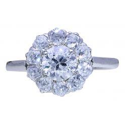 H21 Platinum Diamond Daisy Cluster Art Deco Ring