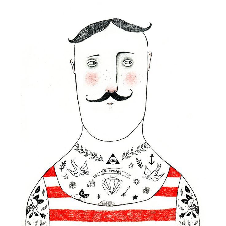 Tattoed man illustration. Strongman pencil drawing