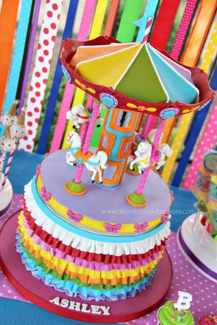 Pretty carousel cake at a girl Birthday Party!  See more party ideas at CatchMyParty.com!