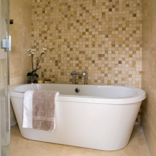 Loving the big bathtub here with the tile up the back- could this be shower/tub combo?