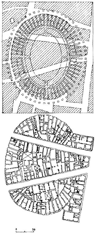 Florence_The amphitheatre absorbed into the urban domestic texture (based on plan by Corinto Corinti. 1924)