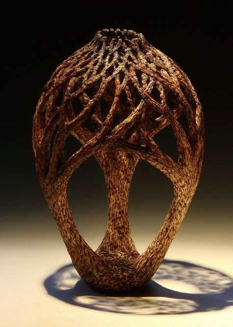 oak - carved, textured, pyrographed, lacquered