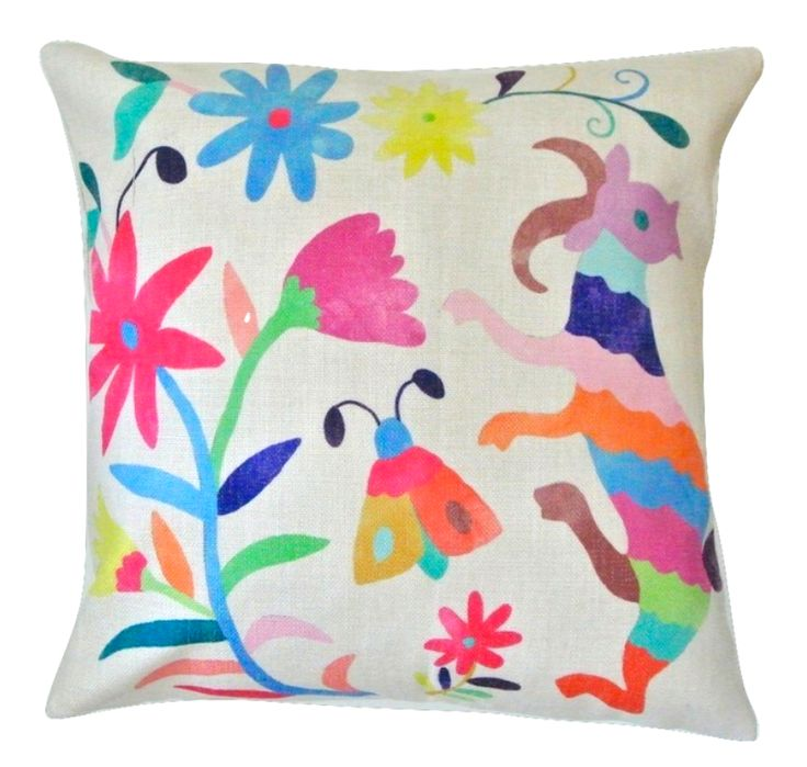 Woodland Deer and Butterfly Otomi Folk Cushion CoverFull of gorgeous colours, this vibrant watercolour Otomi art cushion cover is sure to add some fun to any interior! The Otomi people are an indigenous community native to Mexico and have been around for many thousands of years. They are renowned for their stunning, colourful floral and animal embroidered patterns. Otomi art commonly depicts flowers, mythical animals, birds and insects.- Size: 45cms x 45cms - Material:...
