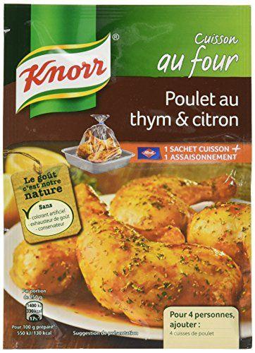 Knorr Sachet Cuisson Poulet Au Thym Et Citron 20g – Lot de 5: Sans colorant artificiel, sans exhausteur de goût, sans conservateur. Cuisson…