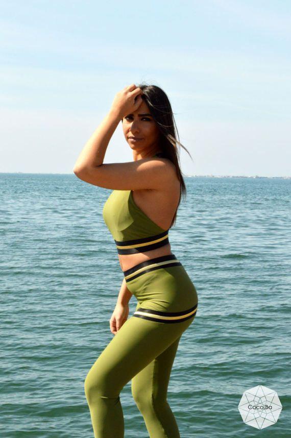 Woman Leggings Green Leggings Workout Leggings Activewear