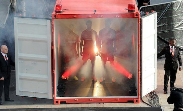 Liverpool FC kit launch container
