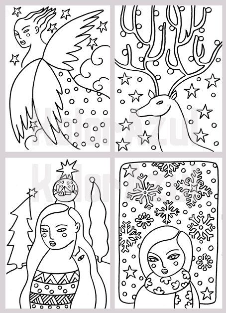 Items Similar To Coloring Christmas Cards On Etsy
