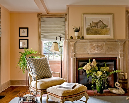 Peach walls living room