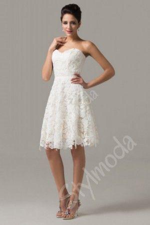 Svatební šaty krátké / Společenské šaty krajkové bílé/champange CL6126