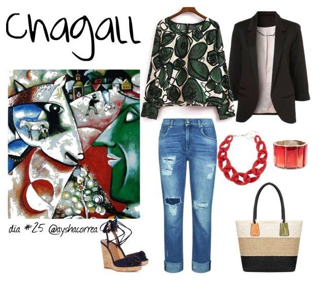 Montagem de look inspirado em um quadro de Chagall.  #ayshaconsultoriadeestilo