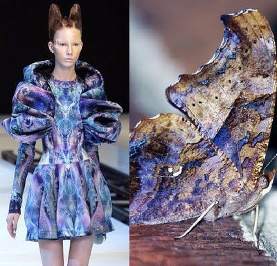 """Alexander McQueen Spring 2010 ready-to-wear Planto's Atlantis collection. The inspiration behind this was moths but He wanted to cast, an """"apocalyptic forecast"""" of the future """"ecological meltdown"""" of the world."""
