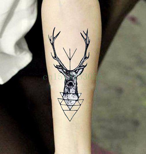 Tatuaje impermeable Etiqueta Temporal Del Tatuaje cabeza de alce ciervo bucks astas cuerno flash del tatuaje de Transferencia de Agua tatuaje falso de los hombres chica