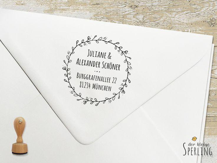 Adressstempel - STEMPEL . Adressstempel . Blätterkranz - ein Designerstück von DerkleineSperling-Stempel bei DaWanda