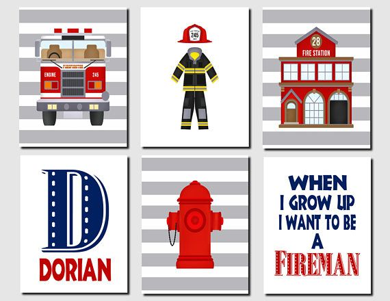 Fire Truck Nursery Prints Fireman Wall Art Fire Truck Room