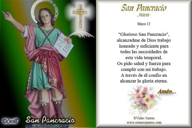Oracion a San Benito | Vidas Santas: Estampita y Oración de San Pancracio, Mártir