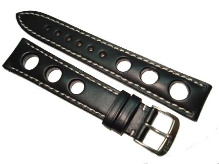 Rios Racing Leather Watch Strap Calf (Russian Leather) 19/16 mm black bright seam