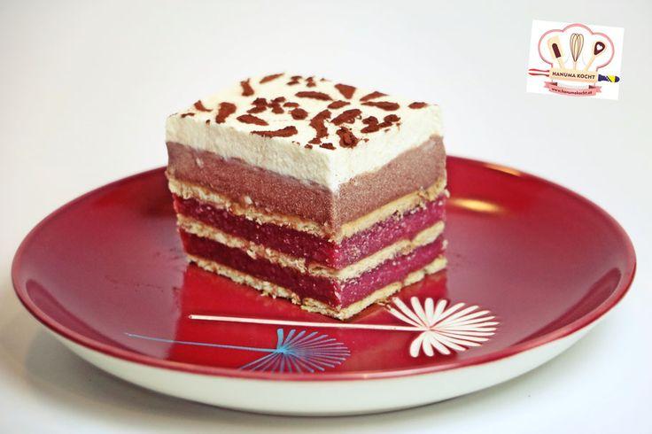 Kekskuchen ohne Backen mit Kirschen und Schokopuddingcreme - ohne Gelatine/ Keks kolač bez pečenja sa višnjama i čokoladnom kremom - bez želatine