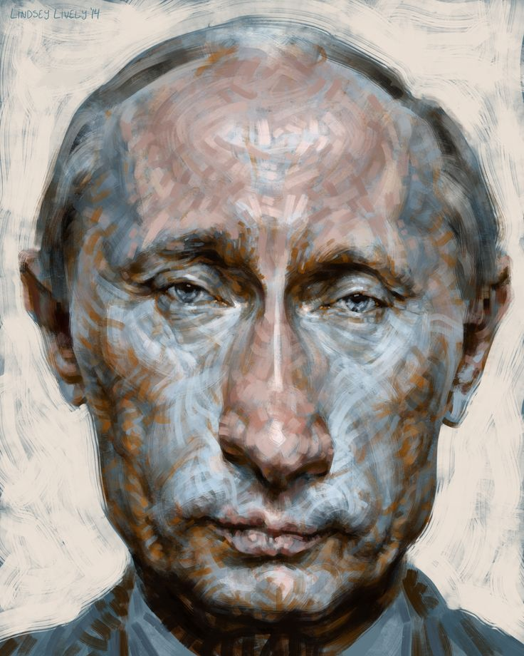 Digital painting of Vladimir Putin.  Stylized portrait illustration by Lindsey Lively.  Watch the process video here:  http://youtu.be/SlgueWfFV_k