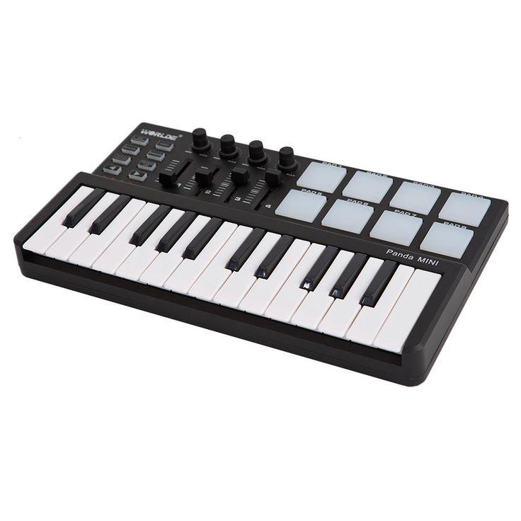 Worlde Panda mini Portable Mini 25-Key USB Keyboard and Drum Sale Online Shopping black - Tomtop.com