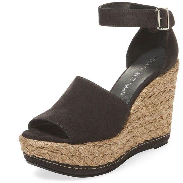726ac166202 Stuart Weitzman Women s Sohogal Suede Wedge Sandal - Dark Grey